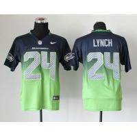 China Nike NFL Seattle Seahawks 24# Lynch Drift Fashion II blue green Elite Jers wholesale
