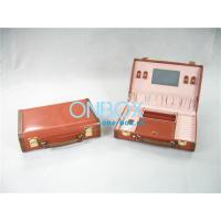 China Travel Cosmetic Packaging Boxes Leather Makeup Case With Mirror wholesale