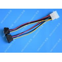 China Computer Molex 4 Pin To 2 x15 Pin SATA Data Cable Right Angle Pitch 5.08mm wholesale