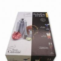 China 3 Pieces Stainless Steel Barware Set with Paper Box and 550mL Capacity wholesale