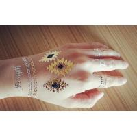 Colored gold foil temporary tattoo customized metallic for Gold foil tattoo