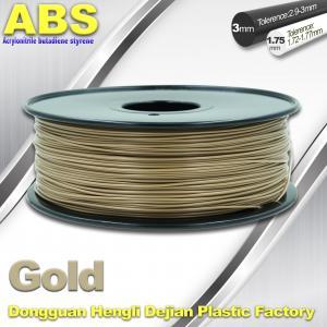 China Custom Gold Conductive ABS 3d Printer Filament 1.75 mm / 3.0mm Plastic Materials wholesale