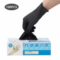 China Latex Free Disposable Medical Gloves Anti Allergic High Wear Resistant Black Color wholesale