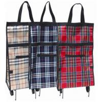 China Iron Pipe Stucture Plaid PP Nylon Portable Shopping Trolley Bag BHT-101 on sale