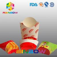 Quality Customized Disposable Take Away Flat Bottom Paper French Fry Packaging Box for sale