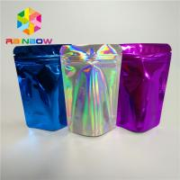 China Cosmetic Glitter Powder Snack Food Packaging Bags Shiny Holographic Hologram Mylar Pouch wholesale