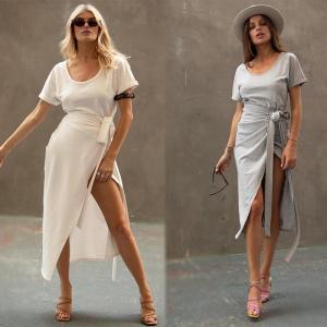 China Clothing Fashion Women White T-shirt Wrap Midi Dress with Slit on sale