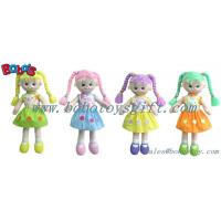China Softest Baby Toy Smiling Face Girl Stuffed 3D Toy In Colorful Hair wholesale