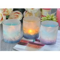 China Custom Candle Luxury candle holders glass , Feather Painted glass candle jars wholesale