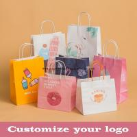 China Stand Up Kraft Paper Gift Wrapping Bags Custom Gravure Printing With Handle wholesale