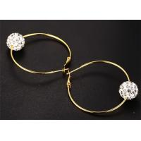 China Wedding Jewelry Stainless Steel Earring Single Color Crystal Ball Hoop Earring wholesale