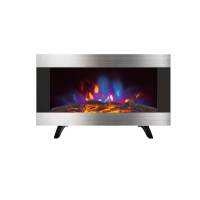 China WALL MOUNTED FIREPLACE HEATER 36 INCHES EF820K PATENTED LED REAL FLAME WOODEN BURNING LOGSET EFFECT STAINLESS STEEL wholesale