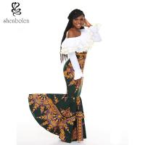 Quality african design dresses Off The Shoulder African Batik Print Dress For Women for sale