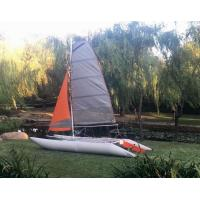 China Two Sails Custom Pontoon Boats For Enjoy , 450 Cm Portable Catamaran Sailboat wholesale