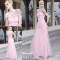 China charming organza formal gowns,  pink flower girl formal gowns wholesale