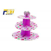 China 3 Tiers Full Color Printing Cardboard Paper Cupcake Display Stand Easy to Assembled wholesale