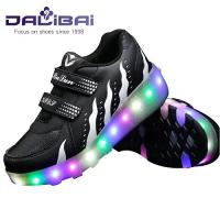 China Light Up 2 Wheels Skate Roller Shoes LED Casual Shoes For Kids and Adults wholesale