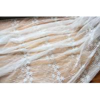 "China Embroidery Floral White Tulle Lace Fabric For Dress Clothing / Scarf / Curtain 51.18"" Wide wholesale"