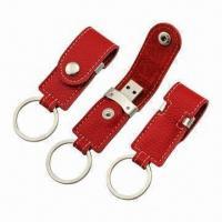 China Leather USB Flash Drives with Shiny Keyring and 64MB to 32GB Capacities, Customized Colors Accepted wholesale