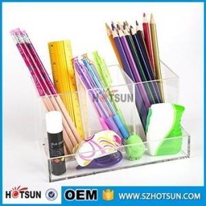 Quality office clear acrylic desk organizer 2 tier 3 tier acrylic pen tray multi for sale