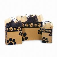 China Paper Gift Bags with Flat Rope Handle, Made of 120gsm Brown Kraft Paper wholesale