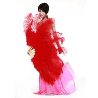 China Large Rose Red Belly Dance Fans With Red Ostrich Feather For Ladies wholesale