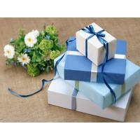 China Cuboid Custom Gift Paper Boxes Gravure Printing With Silk Ribbon wholesale