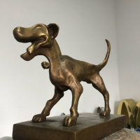 China Small Cast Bronze Dog Sculpture Cartoon Style Brass Animal Statues wholesale