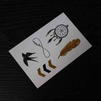 China Gold foil stamping temporary tattoo. silver foil stamping temporary tattoo on sale