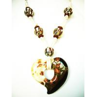 China Glass Heart Pendants Necklaces on sale