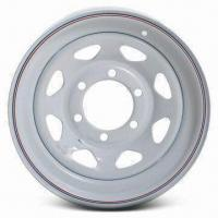 China Steel Wheel, White Powder-coated Finish Over E-coat Primer, Available in 8 Spokes Pattern wholesale