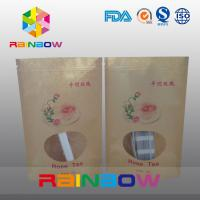 China Laminated Foil Customized Kraft Paper Bag / Snack Bag Packaging Stand Up With Window wholesale