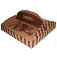 China Stripe Folding Brown Paper Box Packaging With Handle For Pizza wholesale