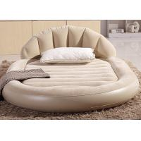 China Low Round Inflatable Air Mattress King Size Flocked PVC Material 13 . 6KG G . W . wholesale