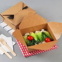 China Hot sell disposable craft paper food packaging box takeaway craft paper lunch food box paper meal box on sale