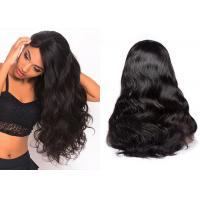 China Natural Black Remy Lace Front Wigs With Part Double Strong Machine Weft wholesale