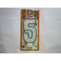 China Non Toxic 5 Shape Number Birthday Candles Colorful Dots Blue Border wholesale