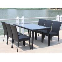 Quality Long Table Plastic Rattan Dining Set / 6 Seater Villa Outdoor Furniture for sale