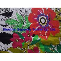 China Custom Fully Combed Sateen Cotton Fabric With Orange Flowers Print wholesale