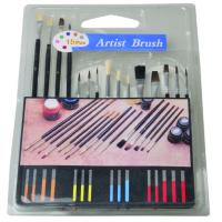 China Slim Long Handled Paint Brushes , Personalised Paint Brush Set T With Plastic Palette wholesale
