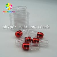 China Clear capsule plastic medicine bottle , sex pill container with aluminum foil gold cap wholesale