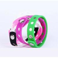 China Promotional holes style  Silicone Rubber Bracelets , Colored Rubber Bracelets Metal Button wholesale