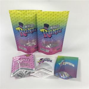 China Custom Label Printed Zip Lock Plastic Bags Zipper Glossy Runtz With Clear Window wholesale