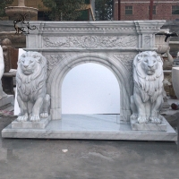 China Marble Lion Sculpture Stone Modern Garden Decoration Hand-carved White Life Size wholesale