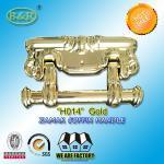 China Size 22.5*13cm Ref H014 Gold Color Metal Coffin Handles Zamak  herrajes para ataudes wholesale