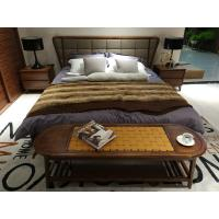China 2017 New design of  Fabric Upholstered headboard Bed by Walnut wood frame for Fashion Apartment  bedroom furniture use wholesale