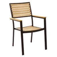 China Stackable Ergonomic Aluminum Rib Teak Arm Dining Room Chair With Box Frame wholesale