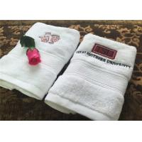 China Durable Hotel Towel Set , 100% Cotton And Embroidery Hotel Face Towel With Satin Stripe wholesale
