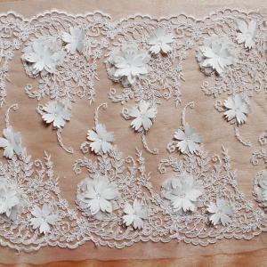 China Beautiful White 3D Flower Lace Fabric , Double Edge Alencon Beaded Lace Fabric wholesale