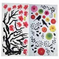 China Floral Wall Stickers/Decal, Comes in Various Designs/Sizes, Used for Home Decoration, Eco-friendly wholesale